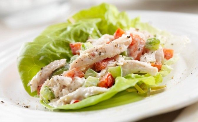 chicken and tomato lettuce wraps
