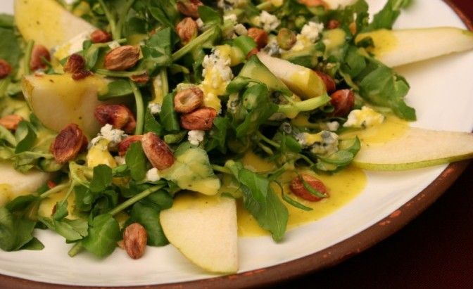 healthy and delicious pear and avocado salad