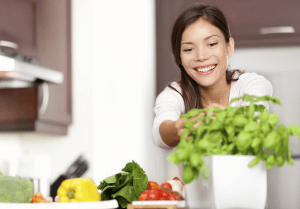 Woman on a detox diet eating natural and healthy food