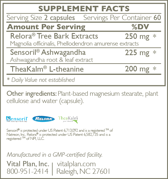 Vital Plan HPA Balance Menopause Ingredient Label