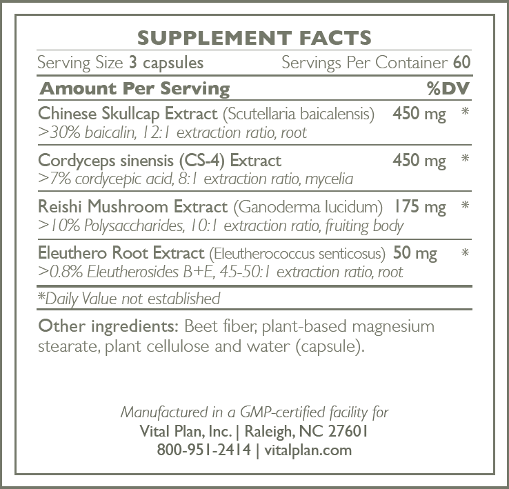 Adaptogen Recovery Ingredient Label