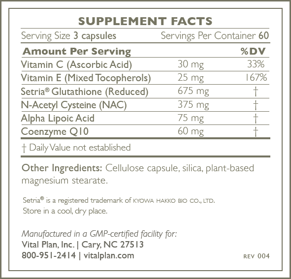 Mitochondrial support supplement label