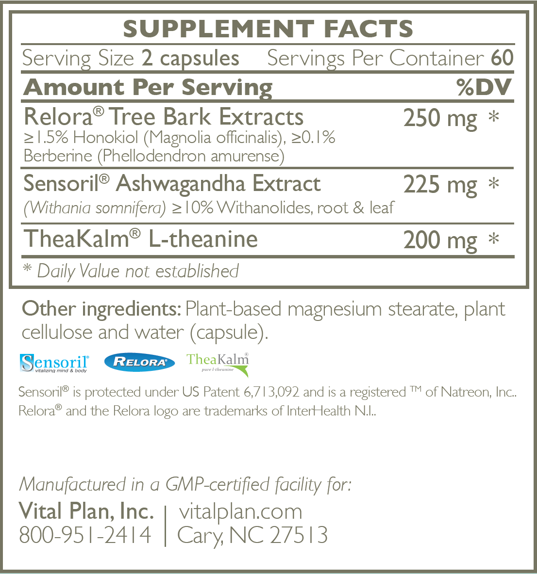Vital Plan HPA Balance Ingredient Label