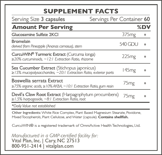 Vital Plan Joint Care Ingredient Label