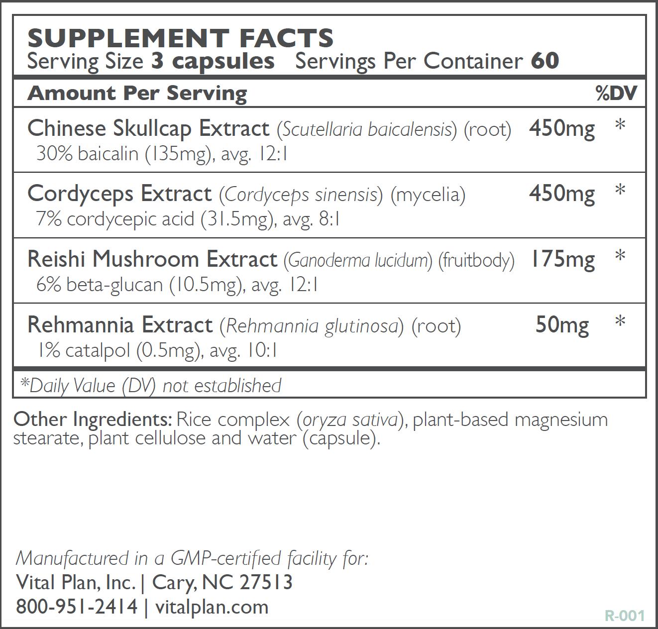 Adaptogen Recovery Ingredient Label