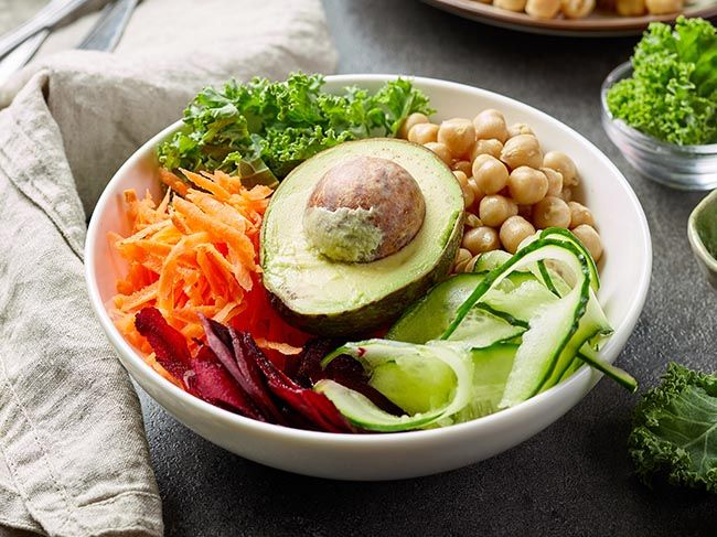 Breakfast vegan power bowl for healthy eating, balanced diet for gut health