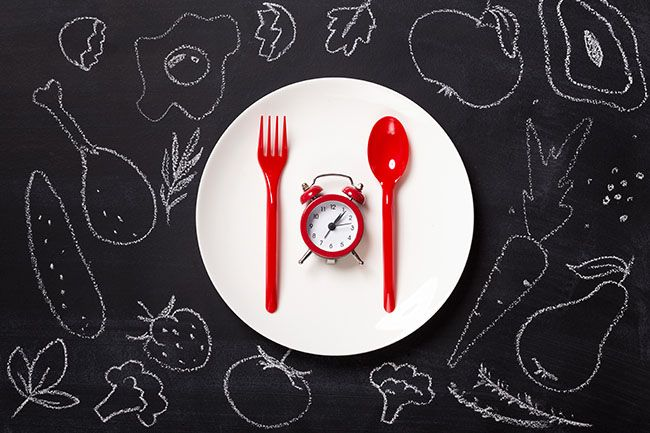 antinutrients matters with timing. Red alarm clock and disposable cutlery on white plate at blackboard with drawn food