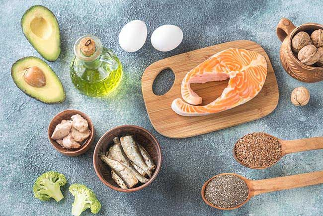 Food with Omega-3 fats, olive oil, avocados, fish, broccoli, walnuts, eggs