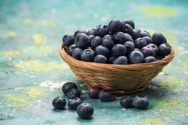 Fresh ripe blueberry in basket.