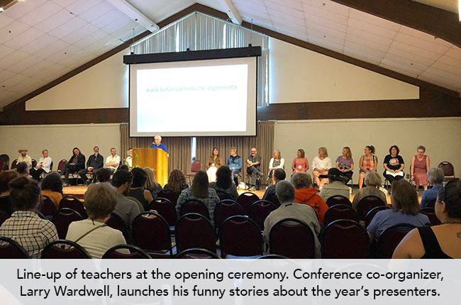 Line-up of teachers at the opening ceremony. Conference co-organizer, Larry Wardwell, launches his funny stories about the year's presenters.