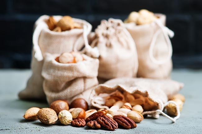nuts on a table, different kind of nuts