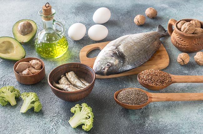 Food with Omega-3 fats: fish, broccoli, olive oil, avocado, nuts, eggs