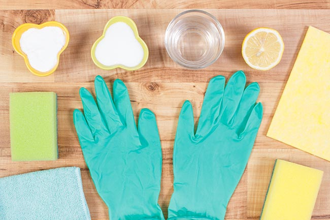 Accessories and nontoxic detergents for cleaning home, household duties concept